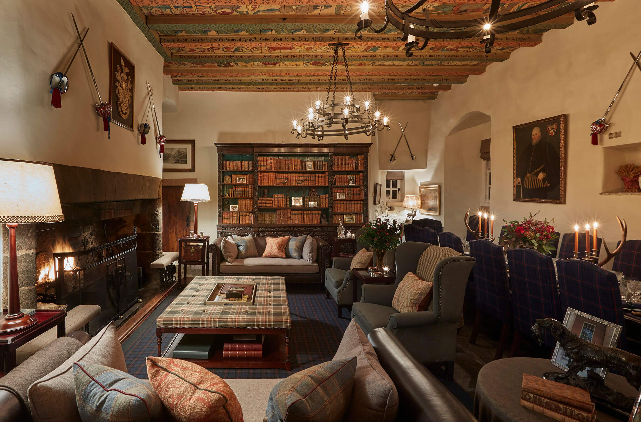 Living room and open fire in scottish castle