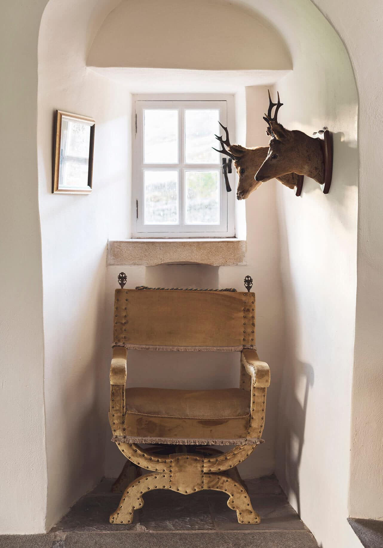 Wooden chair in scottish castle