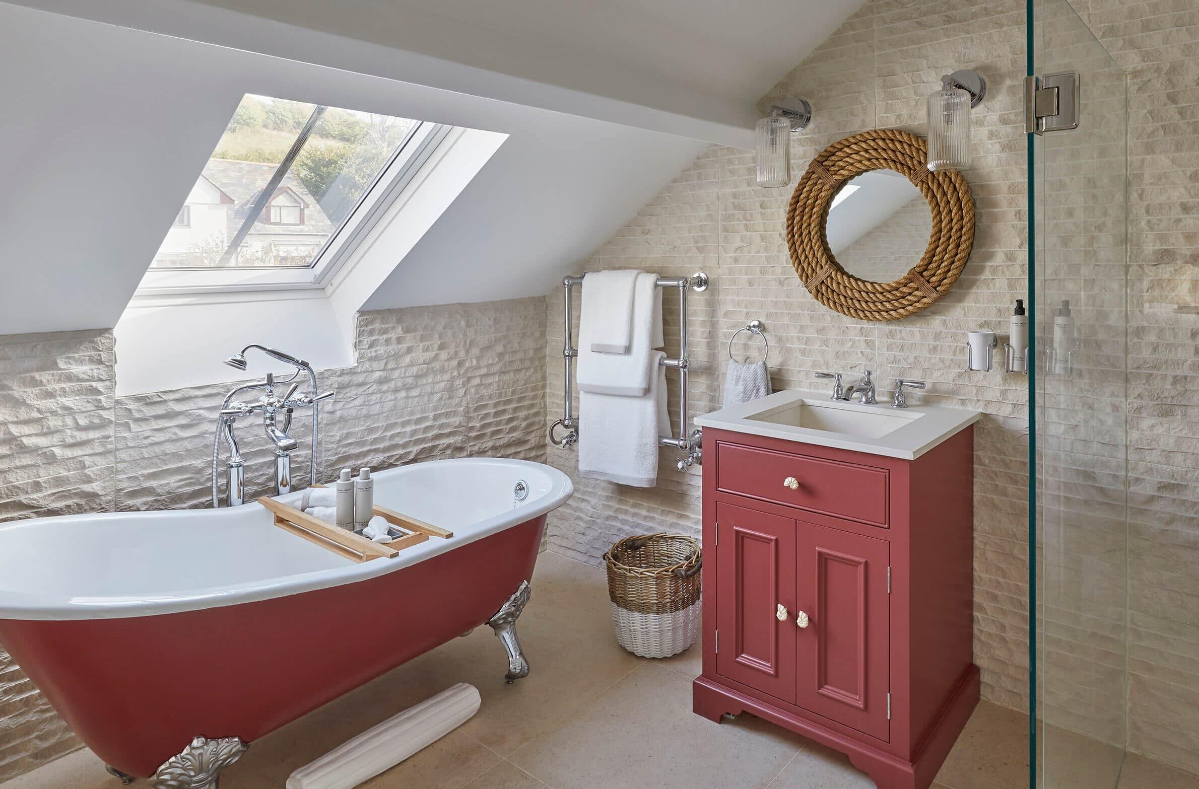 red bathroom in Devon interior design project