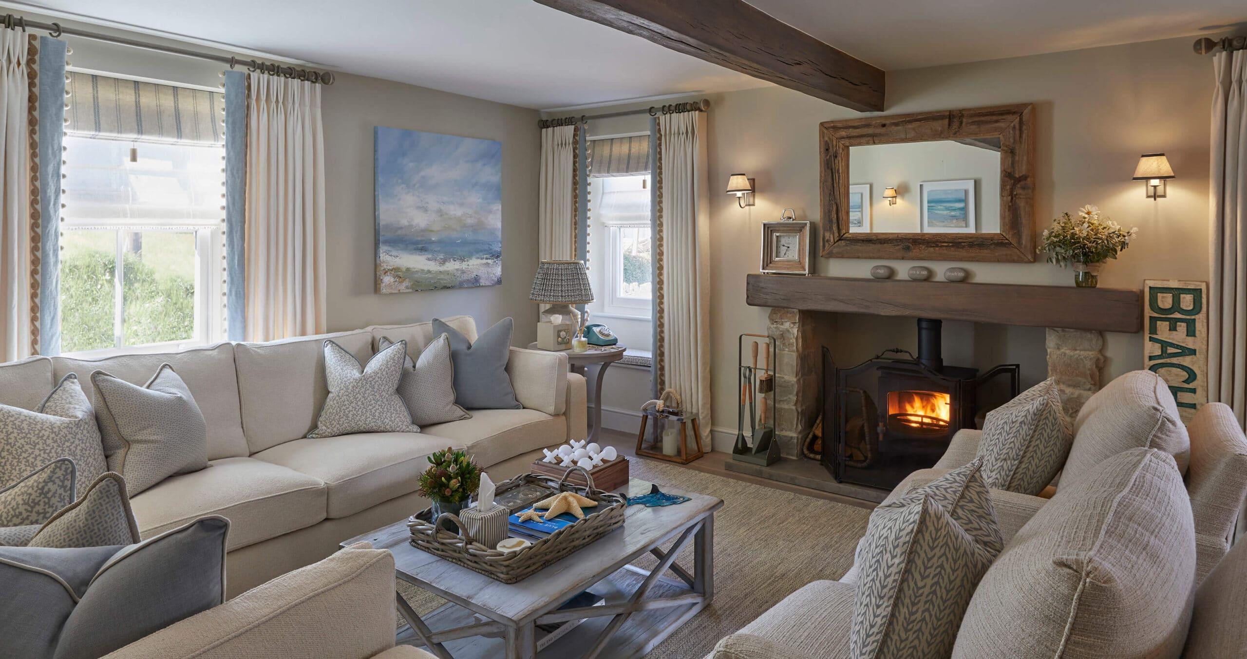 living room in Devon interior design project
