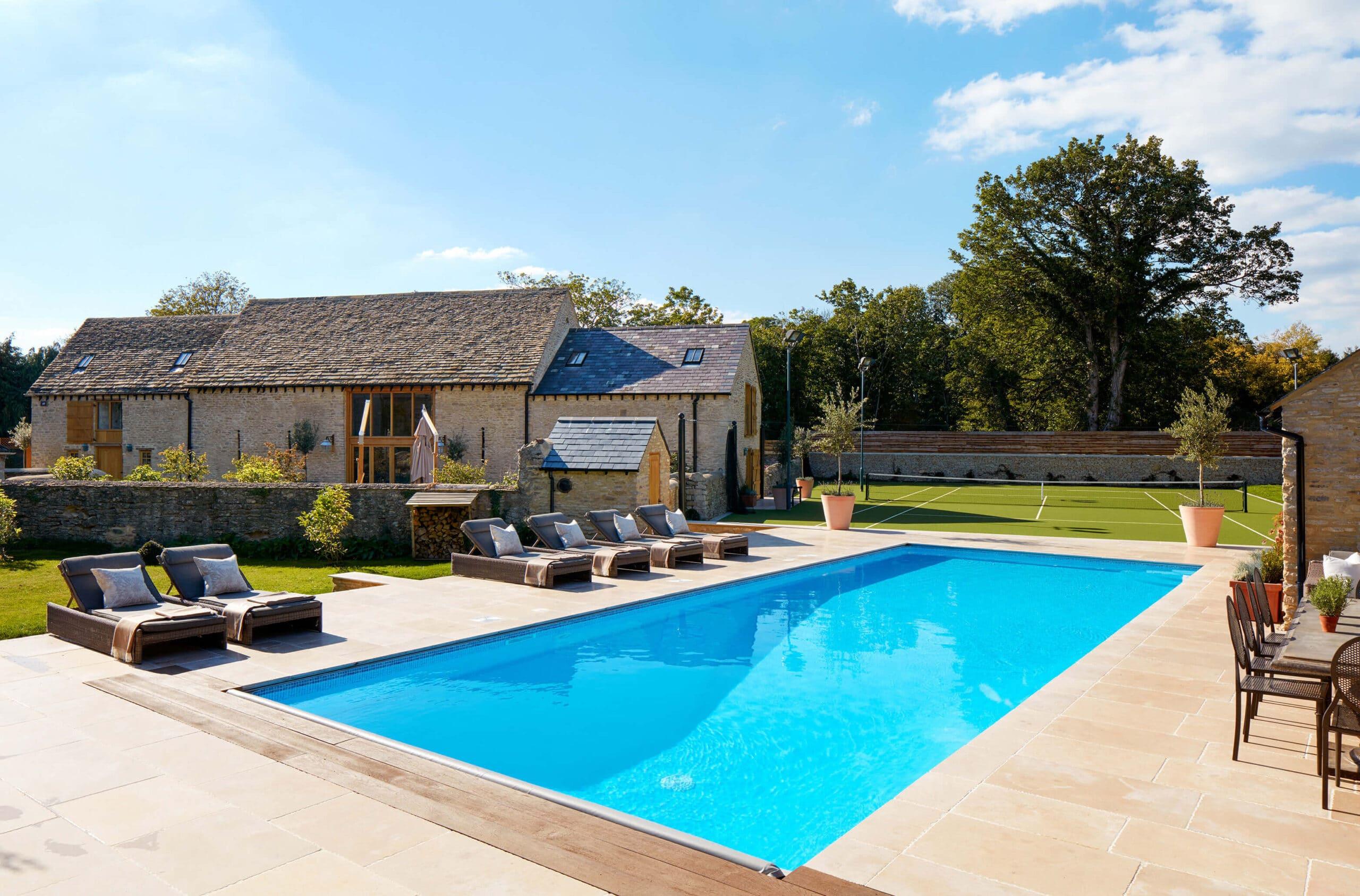 Swimming pool in luxury barn conversion