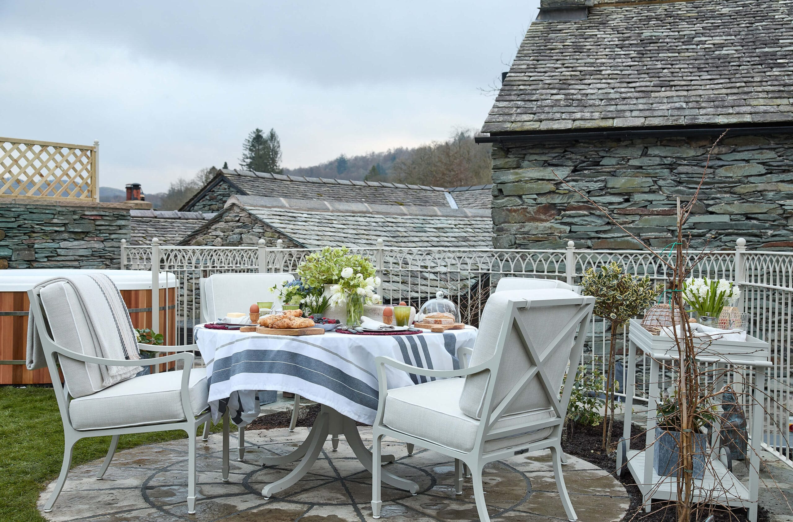 Outdoor seating of project in lake district