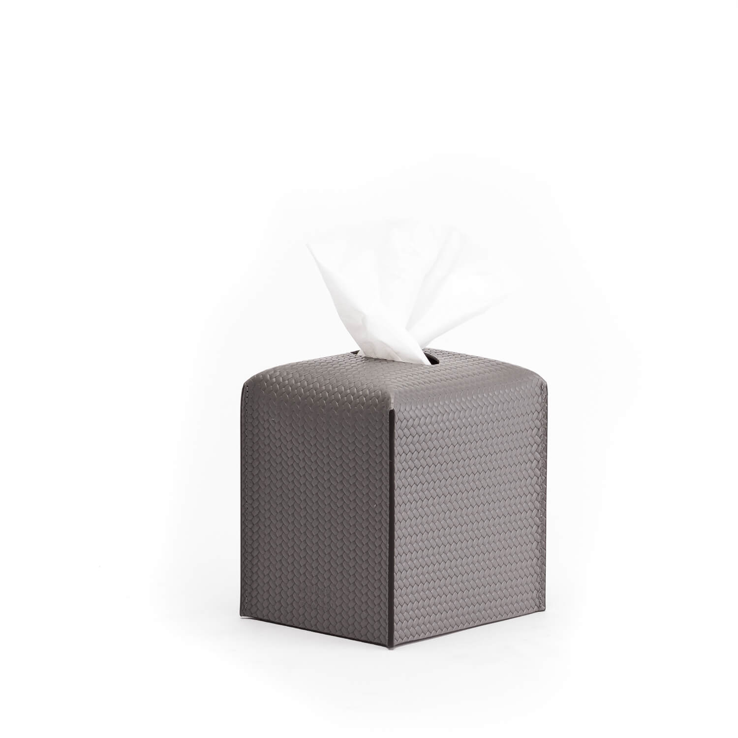 Grey Curved Leather Tissue Box | Katharine Pooley