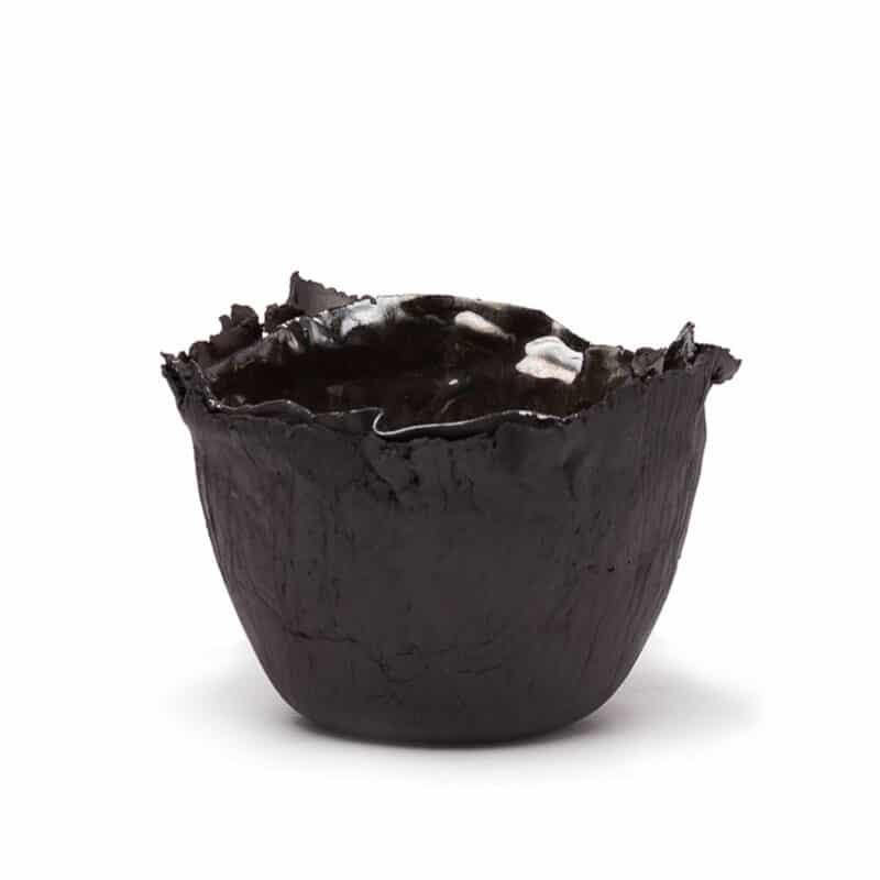 Noir Luxury Porcelain Bowl With Gold Leaf
