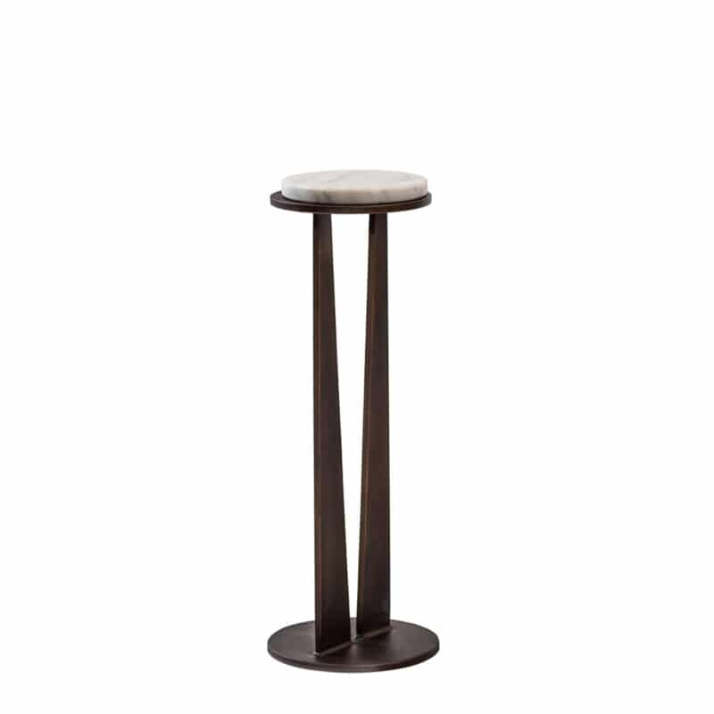 Designer marble and bronze side table