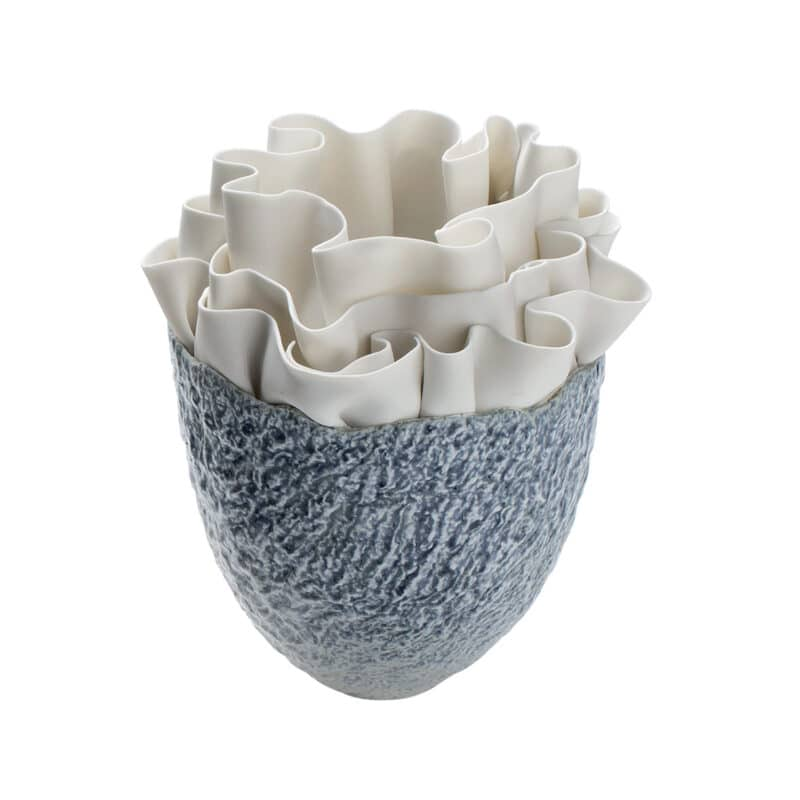 Luxury Blue Rippled Porcelain Vase