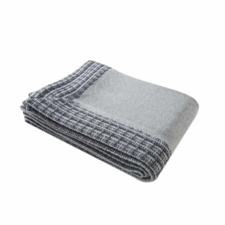 luxury handmade grey cashmere throw
