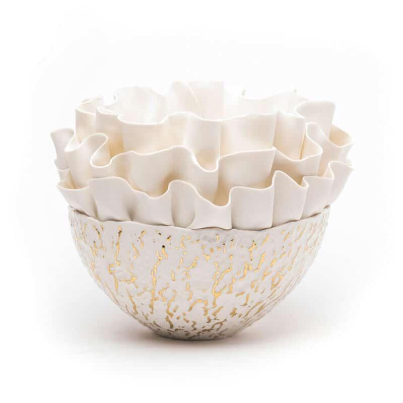 Hand-Sculpted Luxury Gold Porcelain Bowl