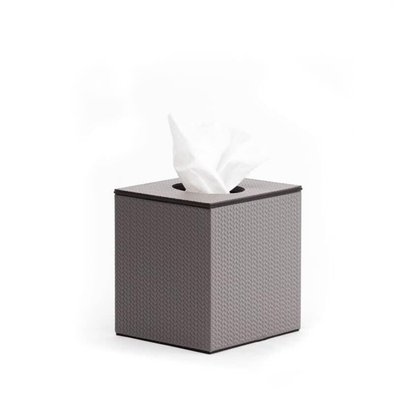 Auri Grey Italian Leather Tissue box cover
