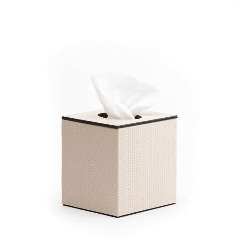 Auri Italian Cream Leather Tissue Box