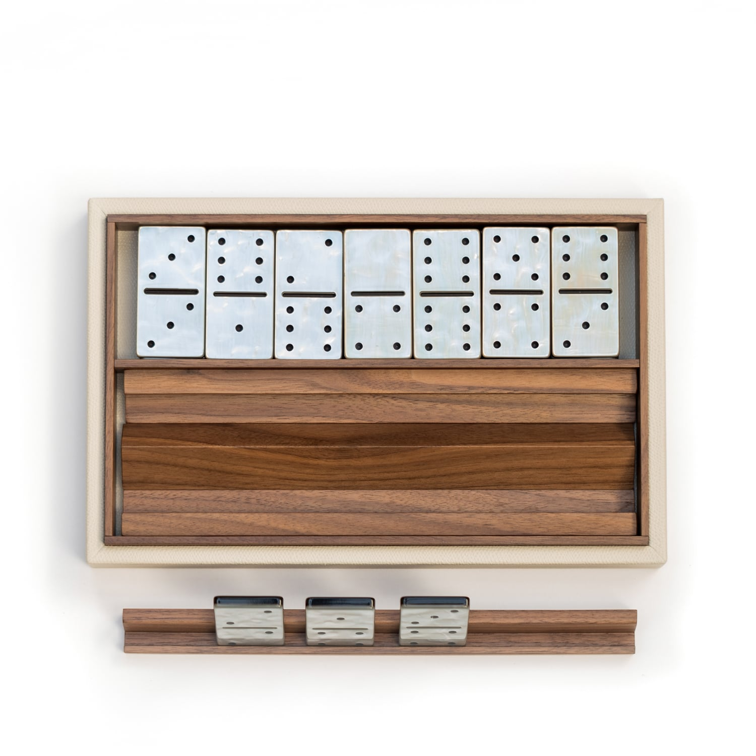 Luxury Leather & Canaletto walnut Dominoes Set