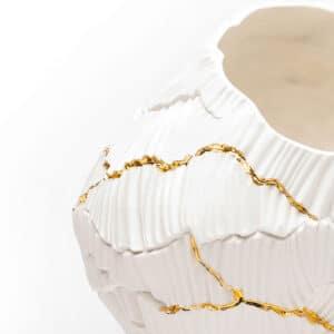 Crackled Gold Porcelain Bowl