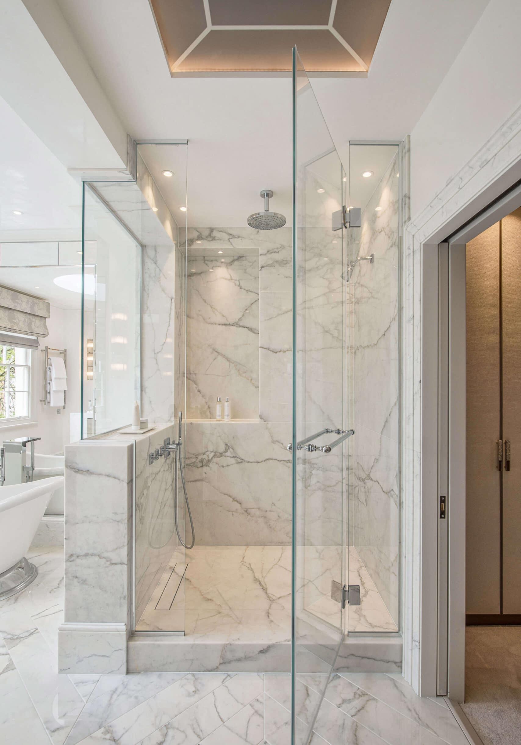 Shower room in townhouse interior design