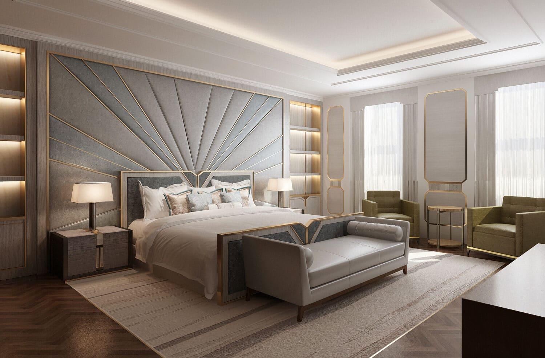 Interior design of luxury historic london home, bedrrom