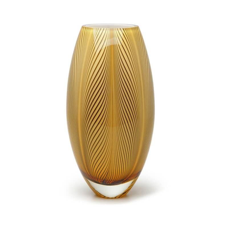 Amber Designer Oval Glass Vase