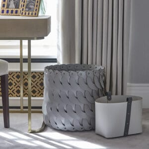 Audrey Tall Leather Basket