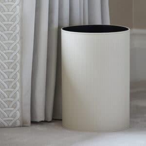 Auri Ivory Leather Bin