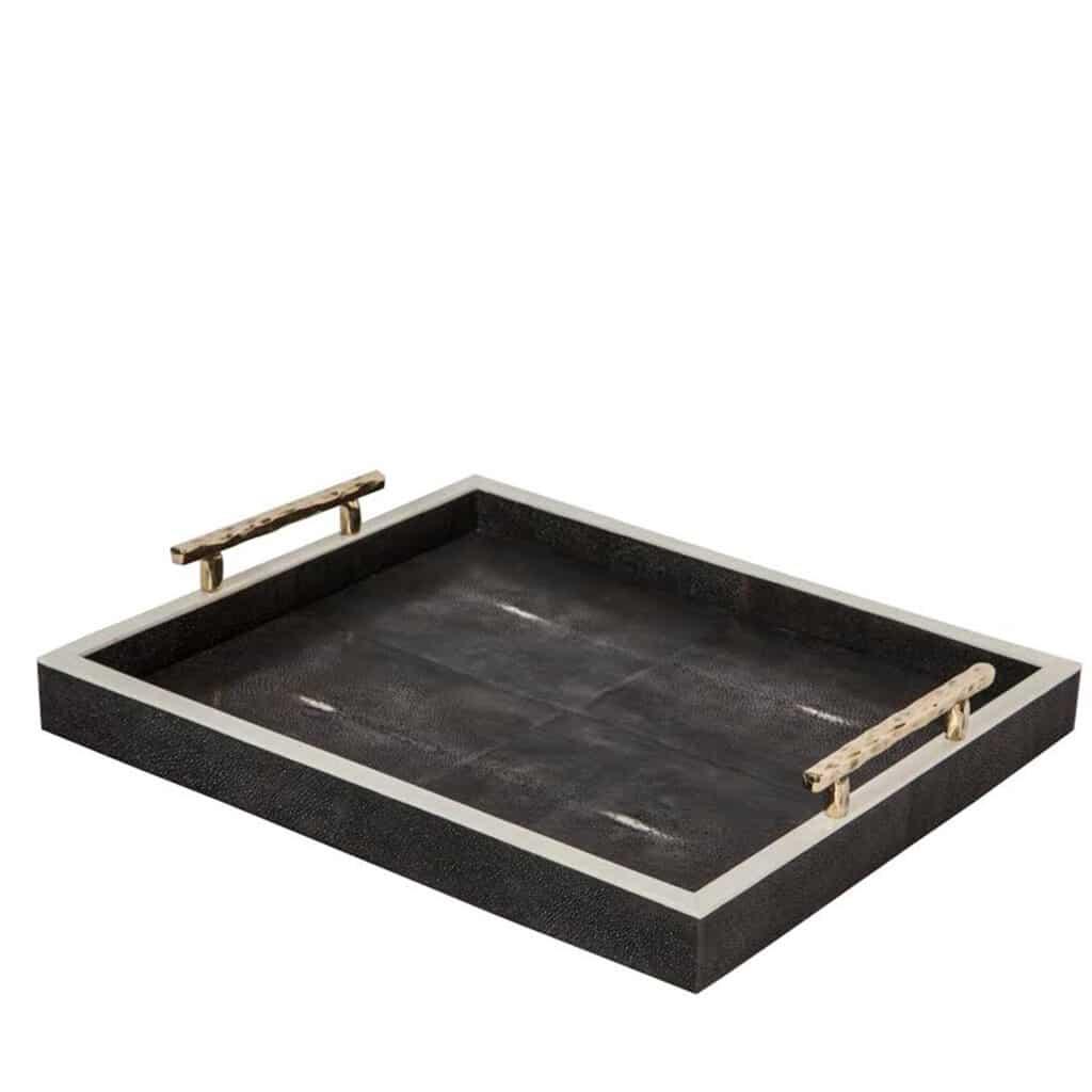 luxury serving tray Belmont Black Shagreen Tray