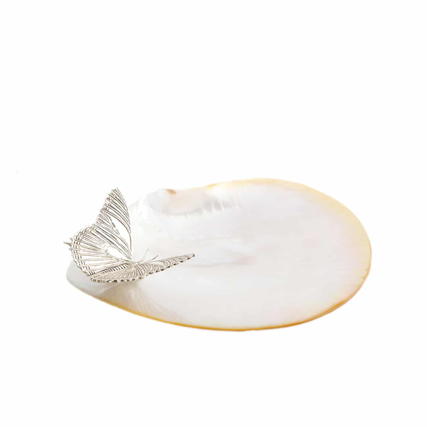 Designer silver and mother of pearl soap dish