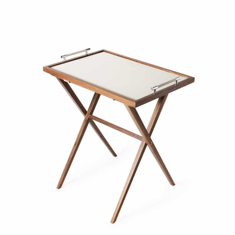 Designer folding italian leather table tray