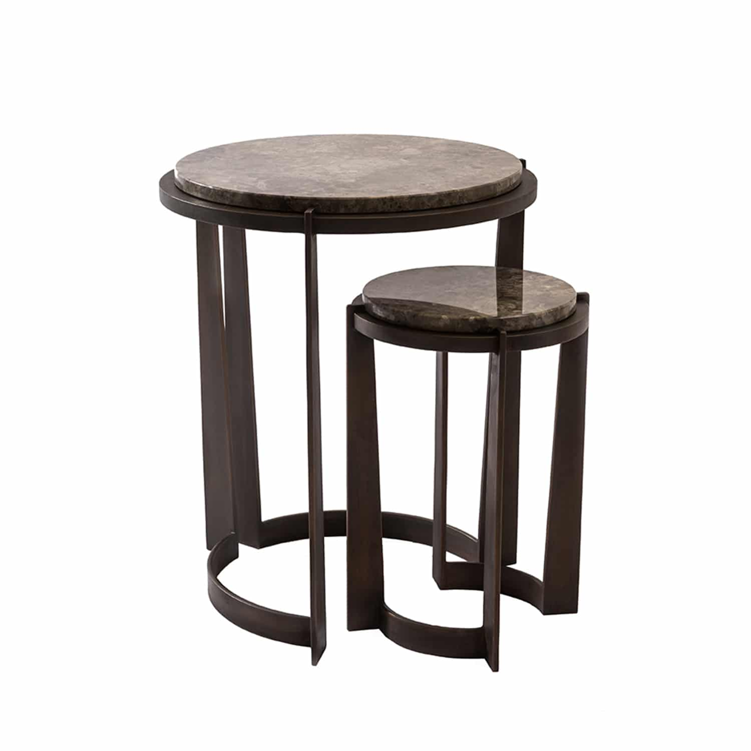 Luxury handcrafted Marble & Bronze Nest of Side Tables