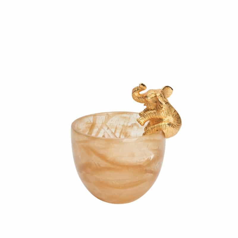 Luxury 24k Gold Elephant & Quartz Bowl