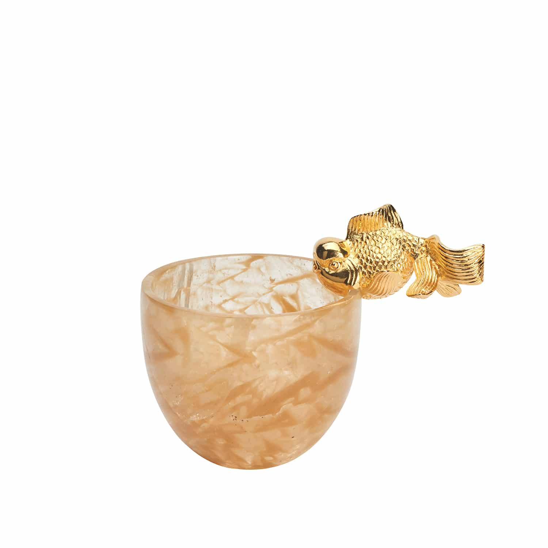 Luxury 24k Gold Fish & Quartz Bowl