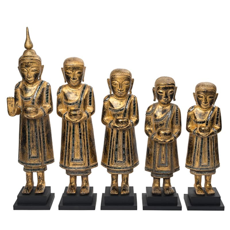 antique Burmese monk statues