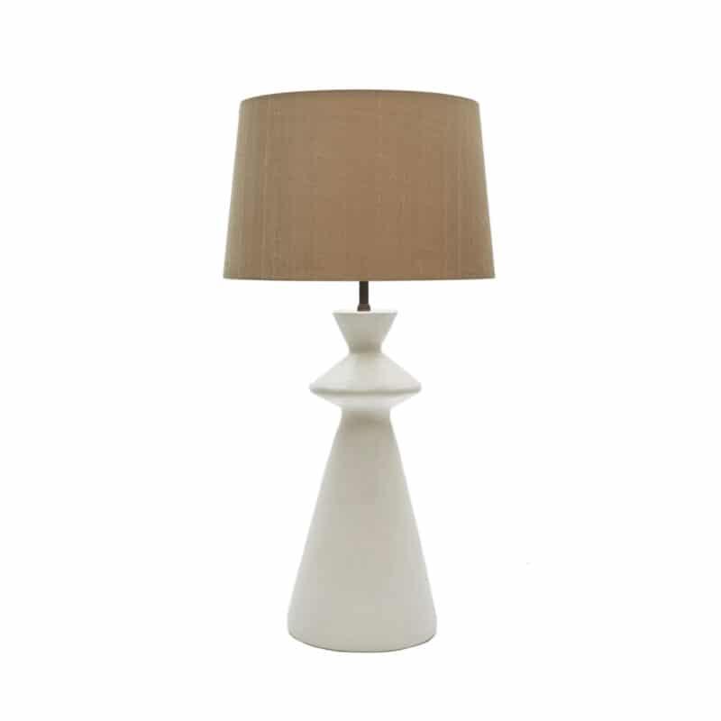 Designer handcrafted ivory plaster lamp