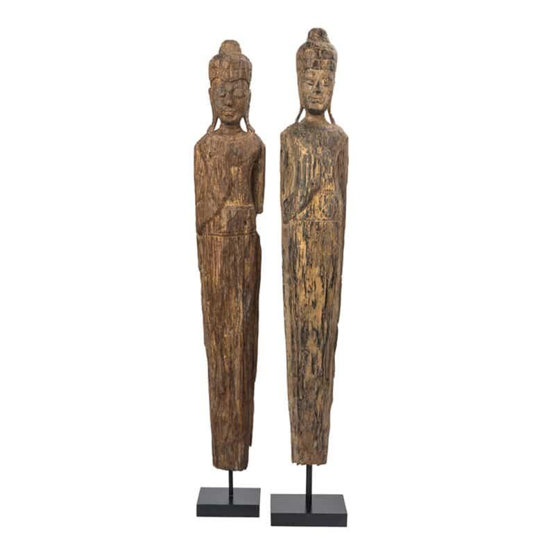 Pair of Handcrated Burmese Monks Sculpture