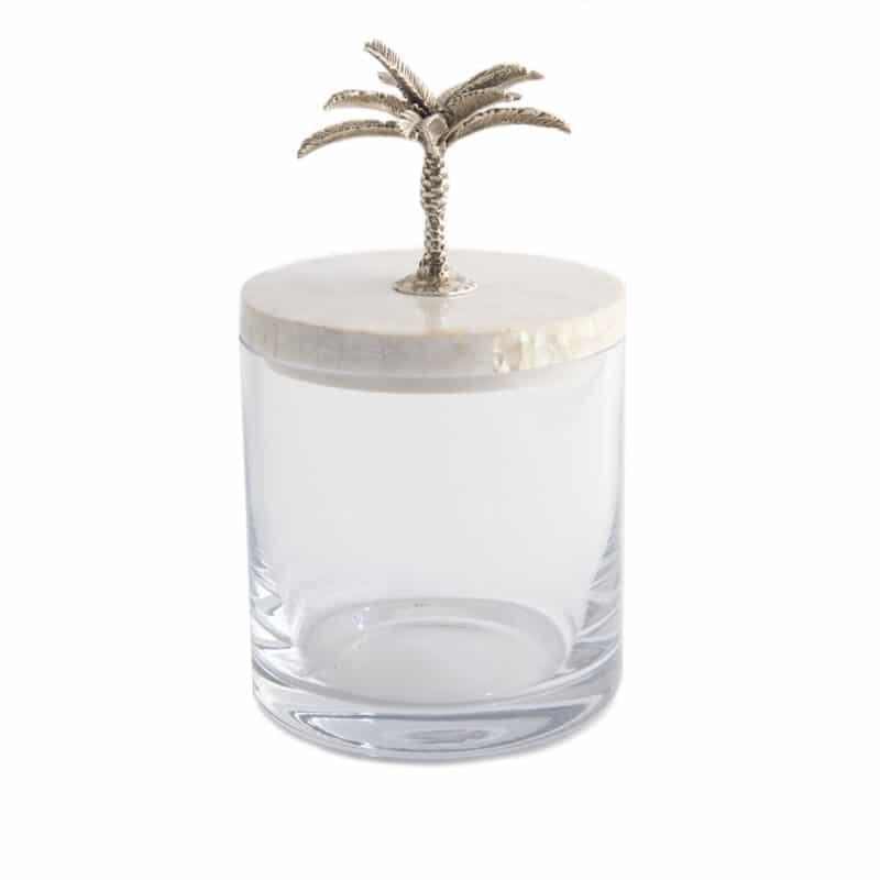 Silver handmade palm storage jar for bathrooms