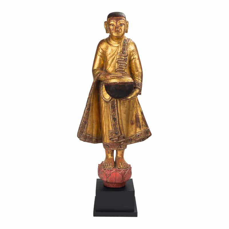 Hand-Crafted Standing Burmese Monk