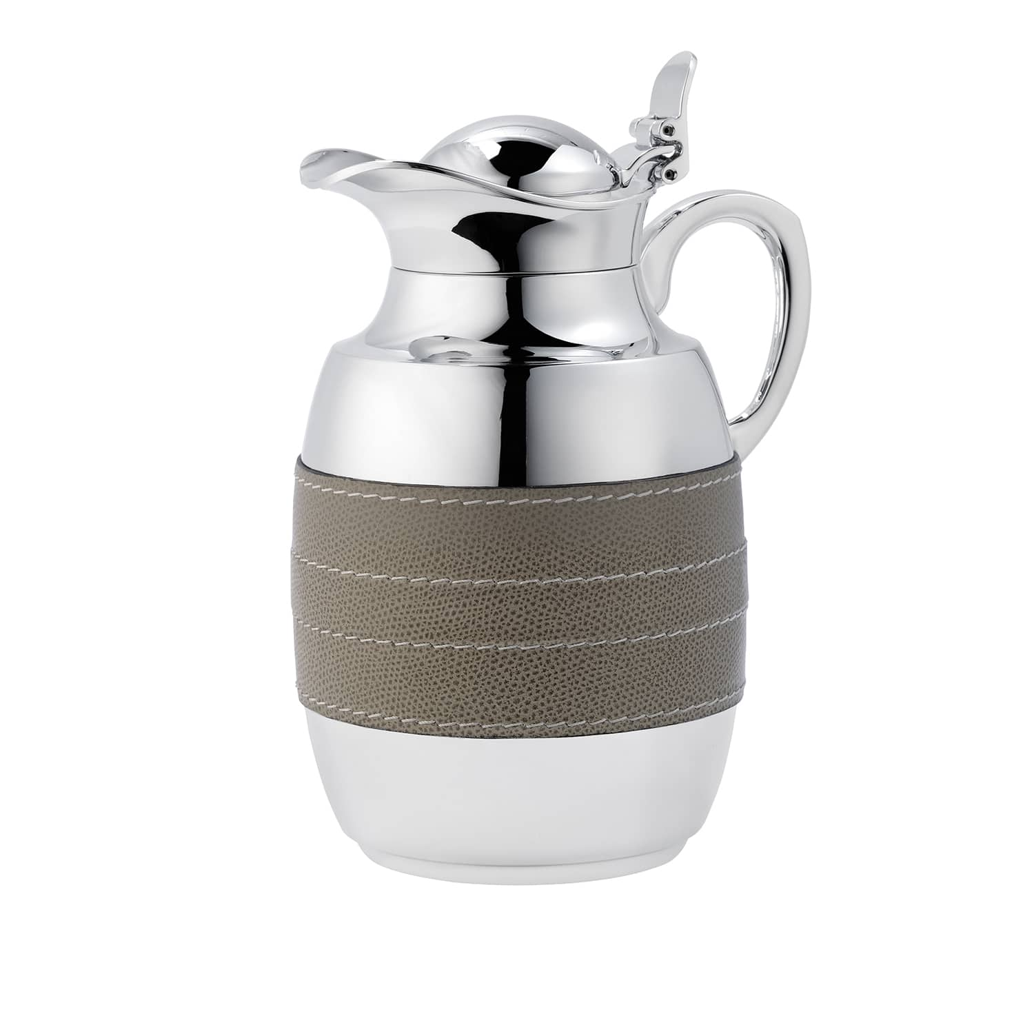 Designer stainless steel and leather carafe